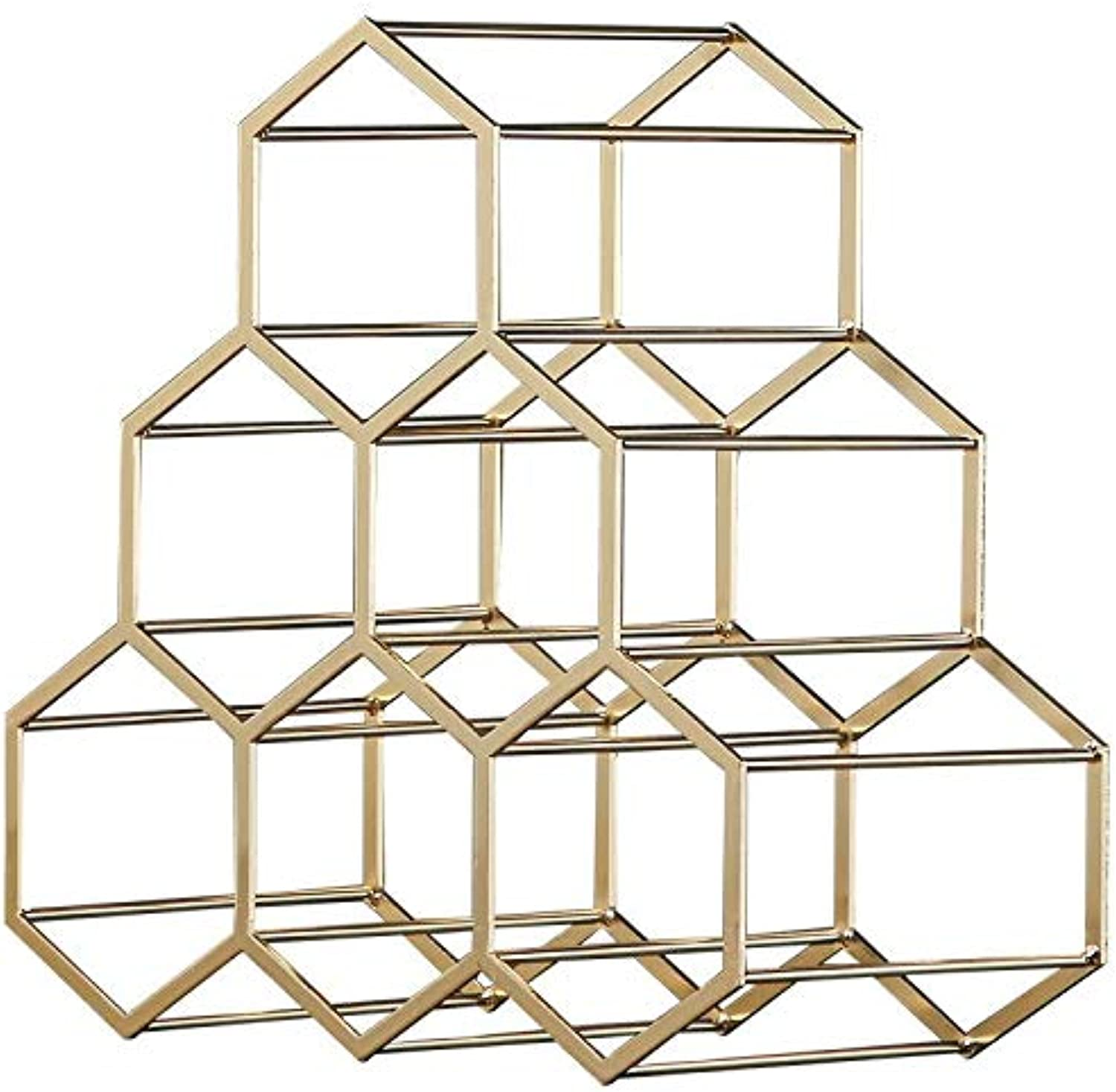 Thirty-seven days Bottles Metal Wine Rack, Countertop Free-Stand Wine Storage Holder, Space Saver Predector for Red & White Wines (gold)