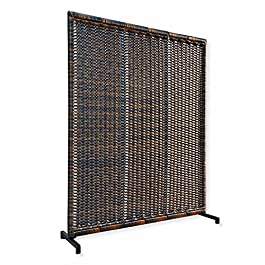 Loberon Paravent Tremblay – Aluminium, Rotin synthétique – H/L/P 185/150/40 cm – Marron