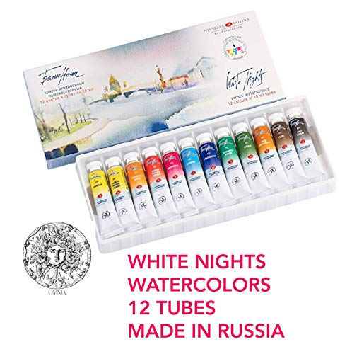 White Nights Watercolor Paint Set of 12 Tubes 10 ml each Emerging and Professional Art