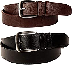 Devil Boys PU Leather Belts Set of 2 Combo Pack (Black & Brown)