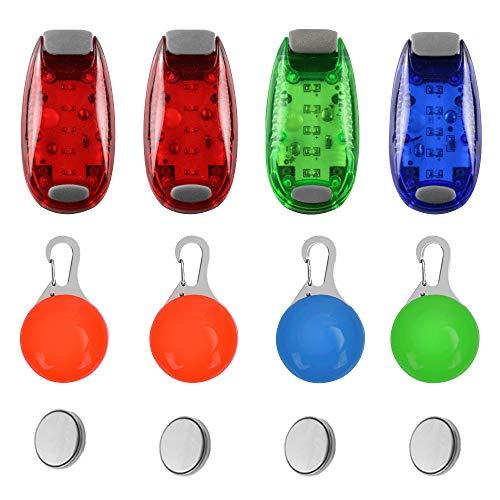 SENHAI 4 Piezas Luces de Seguridad y 4 Piezas Colgantes LED para Perros, Luz de Advertencia de Seguridad Luz estroboscópica para Caminar al Aire Libre de Noche, Corredor, Collar de Perro