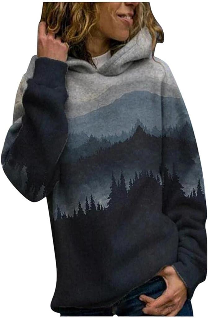 Qisemi Womens Pullover Sweatshirts Fashion Landscape Graphic Swe