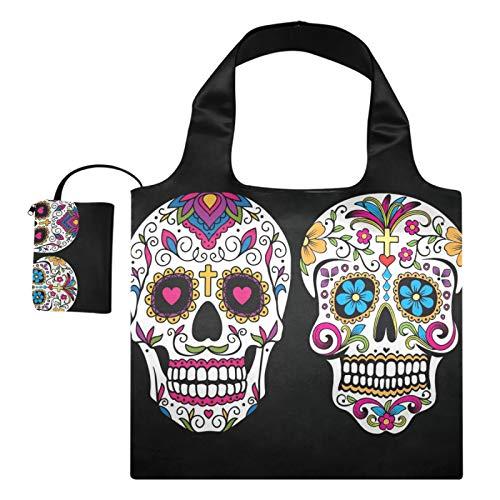 XiangHeFu Totes de regalo reutilizables para comestibles Bolsas de compras de gran capacidad plegables, patrón artístico Sugar Skull Dia De Los Muertos Mexican