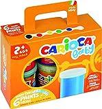 CARIOCA FINGER PAINT | KO032 - Set de Pintura de Dedos Super Lavable para niños a partir de 24 meses, 6 Botes de 80ml