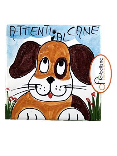 fd-bolletta arredamento e illuminazione Mattonella Ornamentale in Ceramica attenti al Cane da Parete Dipinta a Mano ma3 Misure: H10cm,Larghezza 10cm, Lo Spessore può variare da 8mm a 13mm