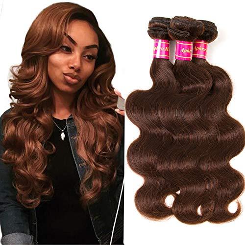 Aphro Hair Brown Body Wave Human Hair 3 Bundles Remy Hair Bundles 100% Human Hair Weaves #4 Light Brown (8 10 12)