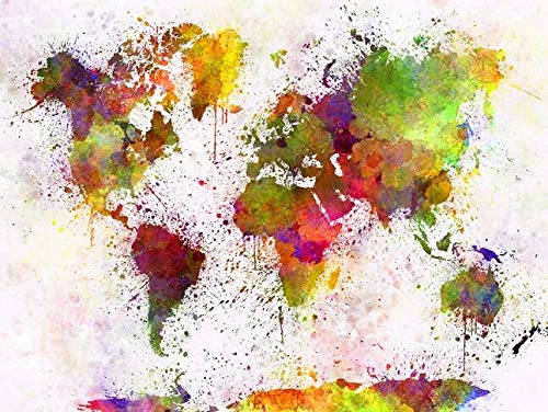 Mapa del mundo Mapa abstracto del mundo Mapa del mundo Impresión de graffiti Mapa del mundo Colorido exquisito mapa Mapa Personalidad Creativo Mapa del mundo-60x90cm_Sb399