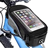 Patabit Kit Borsello Portatelefono con Due luci Bici | Porta Cellulare da Bici Moto | Porta Telefono Cellulare 5.5 Pollici O Inferiori per Bicicletta con Supporto Smartphone E Due luci Bicicletta