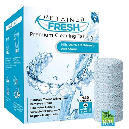 Retainer Reinigungstabletten – 120 Tabletten 4 Monate Vorrat Retainer Fresh Brite und Fleckenfrei – Retainer Reinigungstablette Invisalign, Mundschutz, Zahnersatzausrichtung