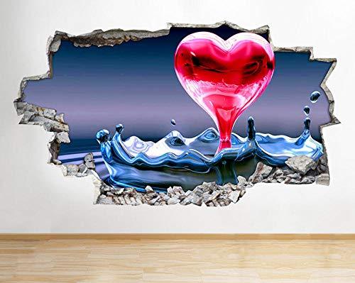 Calcomanías Pegatinas 50X70 Cm Salón De Salpicaduras De Agua De Corazón De Amor 3D Arte Pegatinas Diy Etiquetas Engomadas Desmontables De Vinilo Adhesivos De Pared Para.
