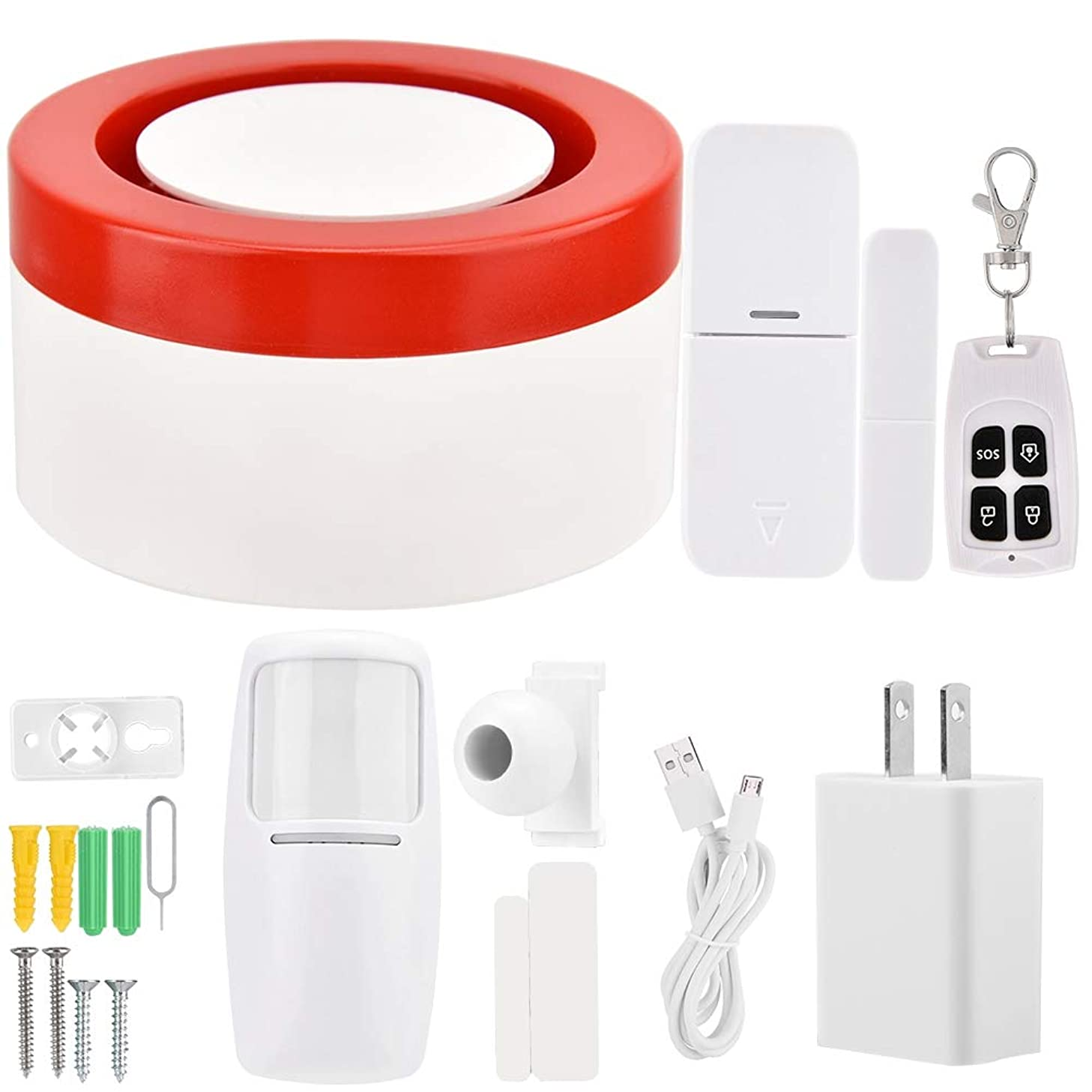 Smart Wireless Alarm System,PIR Motion Sensor WiFi Host & Siren Home Security Anti-Theft Alarm System for Home (US)