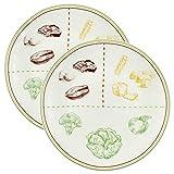 Cornucopia Ceramic Portion Control Plates (Set of 2); Microwave-Safe