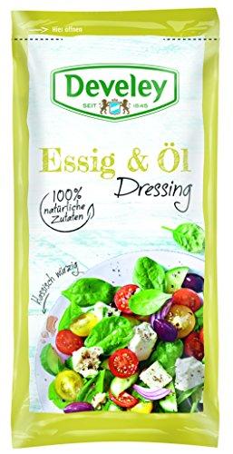 DEVELEY Essig & Öl Salat-Dressing – 14 x 75 ml Portionsbeutel im Karton – glutenfrei und laktosefrei, 100% natürliche Zutaten – 14-er Pack Salat-Dressing