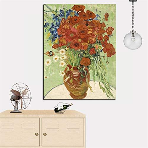 Famoso abstracto Van Gogh pintura de girasol sobre lienzo arte cuadro de pared póster sofá para sala de estar decoración del hogar 40X60cm marco