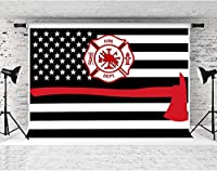 写真のZPC消防署の背景7x5ftソフトコットンアメリカ国旗消防士の背景テーマパーティーの装飾用品バナー写真撮影小道具DSFS659