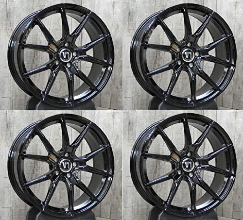 4 x 19 Zoll V1 Wheels V1 Alu Felgen 8,5x19 5x112 ET45 schwarz Glanz glänzend lackiert für Ateca 5F 4drive Cupra Ateca 5F Leon 5F 1P Leon Cupra 5F Leon X-Perience 5F NEU