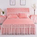 XNSY Einfarbige Spitze Prinzessin Spitze Bett Rock rutschfeste Bettdecke Simmons Schutz Bettdecke Bettlaken-Jade_180 cm x 220 cm
