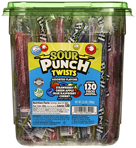 Sour Punch Twists 4 Flavor Individually Wrapped Sweet & Sour Candy with Blue Raspberry punch sour,...