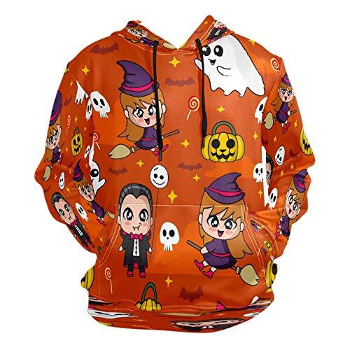 Fashion 3D Printing Cute Dracula Witch Halloween Pattern Unisex Pullover Coole Hoodies mit Kängurutasche für Damen und Herren Gr. XL, Mehrfarbig