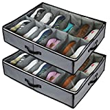 stylishom Under Bed Shoe Storage Organizers ,2 Pack Fit 24 Pairs, Underbed Shoe Storage Containers Box Bags with Clear Cover,Reinforced Handles,Sturdy Zippers,Breathable Fabric Grey Set of 2