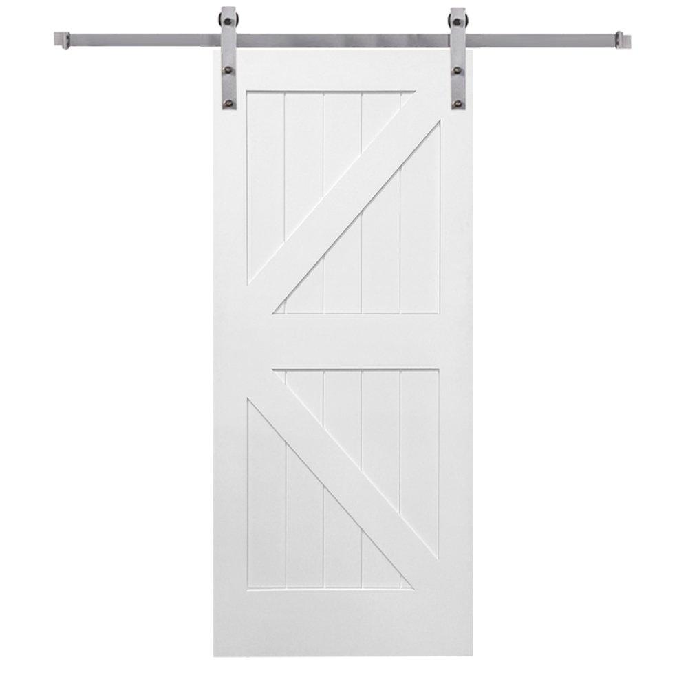 National Door Company ZZ341682 Primed 36x84 K-Plank Barn Door Unit