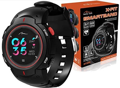 media-tech MT860KG X-FIT Smartband Fitness Armband Pulsmesser Wasserdicht IP68 Fitness Trackers Farbbildschirm Aktivitätstracker Pulsuhren Smartwatch Schrittzaehler Fitness Uhr (rot)