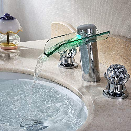 JinYuZe 2 Crystal Handle Brass Waterfall Widespread LED Light Bathroom Sink Faucet,Chrome