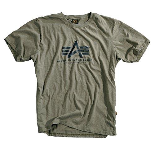 Alpha Industries, maglietta basic con logo Oliva XL