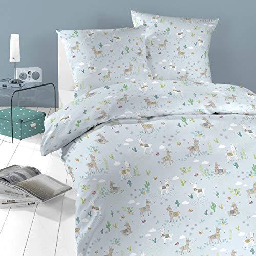 schlafgut Daily Cotton Bettwäsche Lama himmelblau 1 Bettbezug 135x200 cm + 1 Kissenbezug 80x80 cm