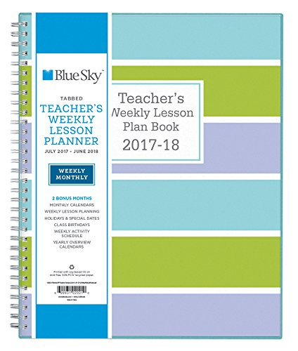 Blue Sky 2017 2018 Academic Year Teachers Plan Book Twin Wire Bound Stripe Cover 8 5 X 11