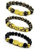 RIOSO Feng Shui Good Luck Bracelets for Men Women Obsidian Bead Dragon Lucky Charm Bracelet Pixiu Pi Yao Attract Wealth Money Feng Shui Jewelry