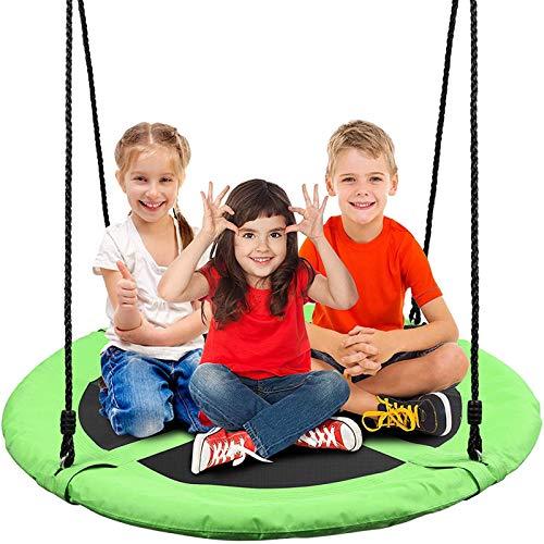 Columpio Nido Redonda Ø100CM, Columpio Jardín hasta 200 kg Columpios Infantiles Ajustable Columpio de Árbol para Niños y Adultos,V