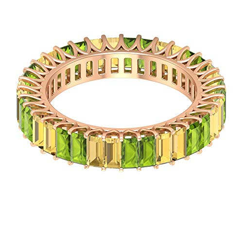 Rosec Jewels 18 quilates oro rosa baguette Green Yellow Peridot Citrine