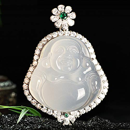 Natural Ice Seed Chalcedony Laughing Buddha Necklaces Pendant Spacer Loose Beads Chinese Charms Beads for DIY Gifts Feng Shui Lucky Jade Bracelets Jewelry Crafts Making Bulk Attract Money Accessories
