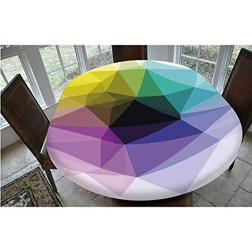 Mantel elástico resistente a las manchas, color triángulo fragmentado en tonos degradados, diseño de mosaico, para mesas ovaladas/olbong de 61 x 122 cm, para fiestas, bodas, primavera y verano