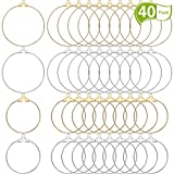 WILLBOND 40 Pieces Round Beading Hoop Earring Finding Component for Jewelry Making 2 Size (Gold and Silver)