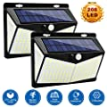 Solar Lights Outdoor, 3 Modes Motion Sensor Flood Lights 208 LED Super Bright with 270°Beam Angle, IP65 Waterproof Wireless Solar Spot Lights, Security Lights for Garden, Garage, Driveway, 2- Pack