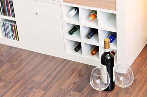 New Swedish Design Kallax Expedit Regal Einsatz 9 Flaschen (Fächer 10 x 10 cm) Flaschenregal Weinregal Wein u. Sektflaschen Aufbewahrung Handtuchregal 33,5 x 33,5 x 37 cm Weiss
