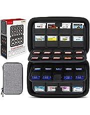 Sisma Funda rígida para organizar 72 Juegos, 40 Porta Juegos para Guardar Cartuchos Switch o Tarjetas SD, 32 Porta Juegos para Cartuchos Nintendo 3DS 2DS DS, Gris