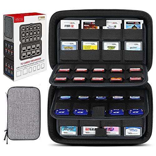 40개의 스위치 게임 또는 SD 카드 및 32개의 NINTENDO 3DS 2DS DS 게임 카트리지에 대한 시스마 72 게임 카드 홀더 저장 케이스 -GREY