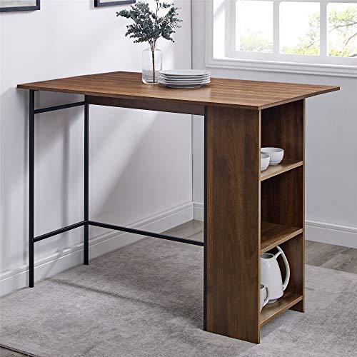 Walker Edison Furniture Company Drop Leaf Counter Height Table with Storage, 48', Dark Walnut