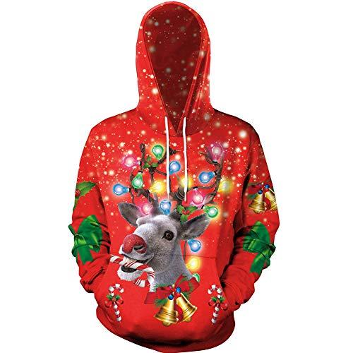 HOAPL - Sudadera unisex con capucha para mujer, diseño de Papá Noel en 3D, con bolsillo de canguro, 1, L