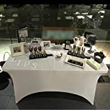 ele ELEOPTION Stretch Husse Rechteckige Tischhusse Premium Spandex Tischabdeckung Biertischhussen für 4 Fuß Tisch Waschbar Tischdecke für Küche Hochzeit Party Bankett (Weiß, 122 x 76 x 76 cm) - 8