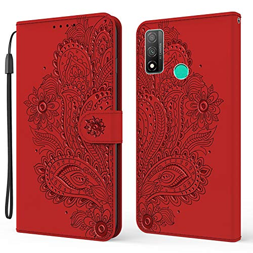 Nadoli Brieftasche Hülle für Huawei P Smart 2020,Schön Geprägt Pfau Blumen Pu Leder Magnet Handyhülle Tasche Schutzhülle Handytasche Klapphülle Standfunktion mit Kartenfächer