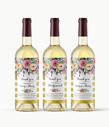 Set of 8 - Bridal Party Thank You Gift Idea - Bridesmaid, Maid of Honor, Matron of Honor Thank You Wine Labels - Bridal Party Thank You Card Alternative, Waterproof Wedding Labels, Gold, A103-THANK-8