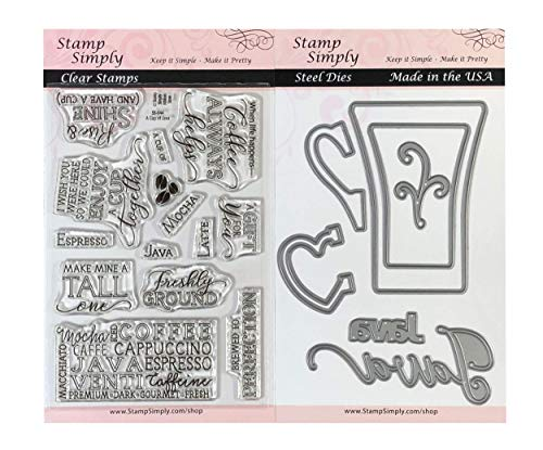 Stamp Simply Clear Stamps A Cup of Java Coffee Espresso Latte Mocha and Mug Die (2-Pack) 4x6 Inch Sheets - 21 Pieces