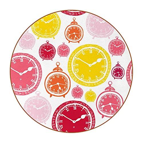 Birght Color amarillo rosa patrón de reloj 4.7.6 cm taza grande posavasos anti-manchas, vidrio anti-arañazos y antideslizante, un juego de 6 absorbentes