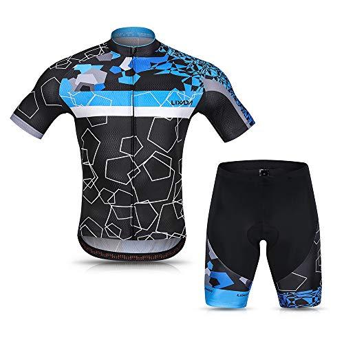 Lixada Abbigliamento Ciclismo Uomo Set Camicia da Ciclismo a Maniche Corte Traspirante Quick-Dry e Pantaloncini Imbottiti in Gel Set Abbigliamento da Ciclismo MTB