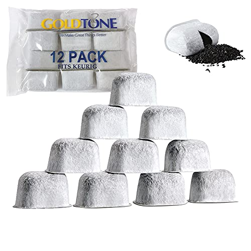 GOLDTONE 12 Pack Replacement Charcoal Water Filter Cartridges Universal Fit for Keurig Classic and 2.0 Coffee Maker Machines (12 PACK)