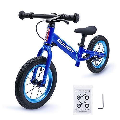 EULANT Kids Balance Bike für Alter 2-6 Jahre, Laufräder für Kinder Kein Pedal, 12-Zoll-Reifen mit Bremse, Prime-Qualität Aluminiumlegierung Fahrradrahmen, Lenkungsbegrenzung, Blau